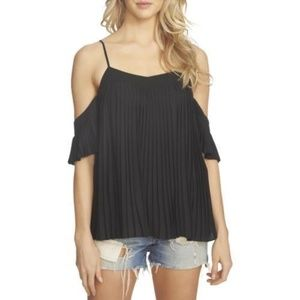 1. STATE Black Pleated Cold Shoulder Blouse NWT M
